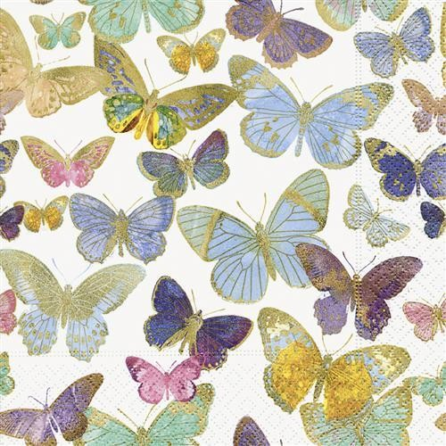 20 Servietten Golden Butterflies – Goldene Schmetterlinge 33x33cm