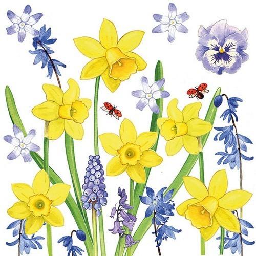 20 Servietten Narcissus Love - Liebevolle Frühlingswiese 33x33cm