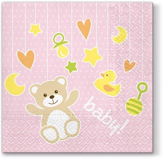 20 Servietten Baby Toys light pink - Baby Spielzeug rosa 33x33cm
