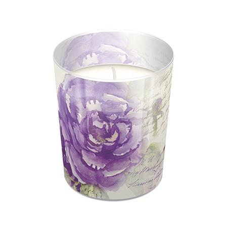 Glaskerze Miracle Rose - Vintageszene lila Rose Ø7,9cm, Höhe 9,4cm