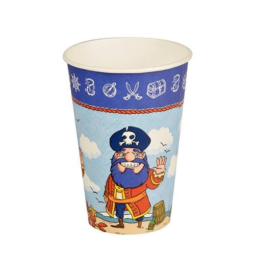 10 Pappbecher Magic Experience Pirate - Pirat auf Insel 0,2l, H9,7 x Ø7cm