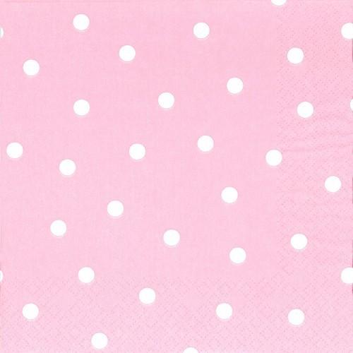 Servietten Punkte rosa 33x33cm
