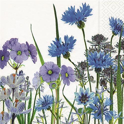 20 Servietten Blue Meadow - Blaue Blumenwiese 33x33cm