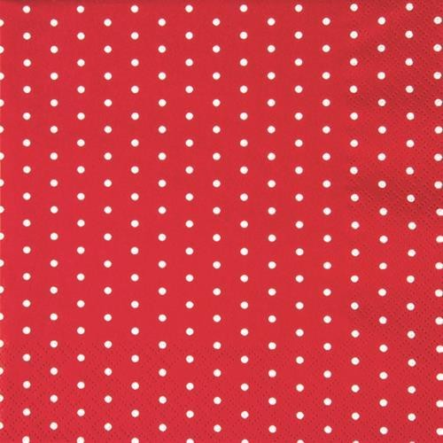 20 Servietten Mini Dots red/white - Mini-Punkte rot/weiß 33x33cm