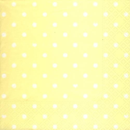 20 Servietten Hearts and Dots yellow - Herzen & Punkte gelb 33x33cm