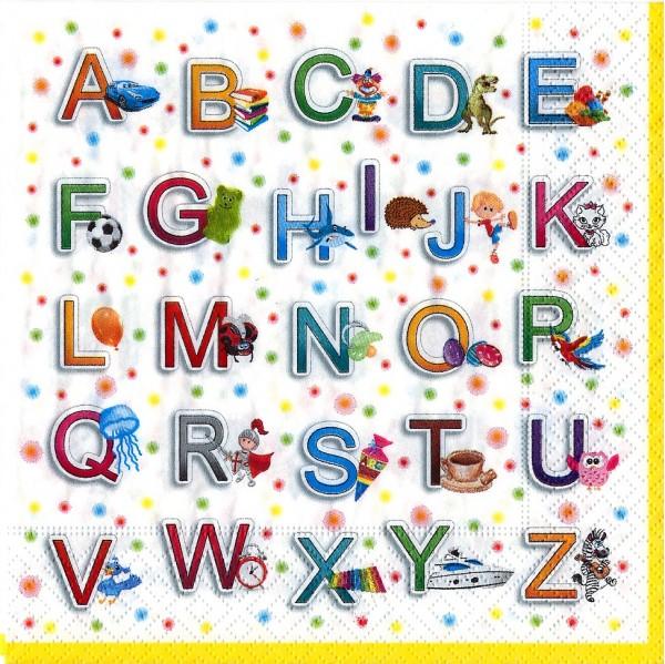 20 Servietten From A-Z - Buntes Alphabet 33x33cm