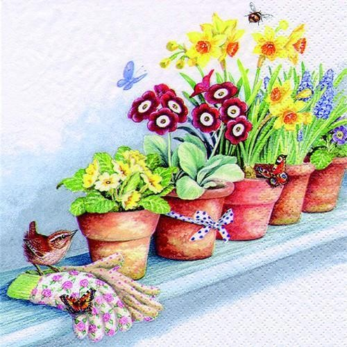 20 Servietten Windowsill with Flower Pots 33x33cm
