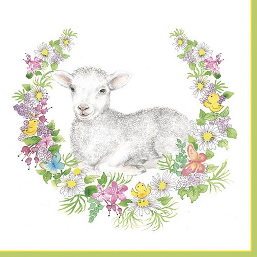 Daisy Servietten Easter Wreath with Lamb 33x33cm