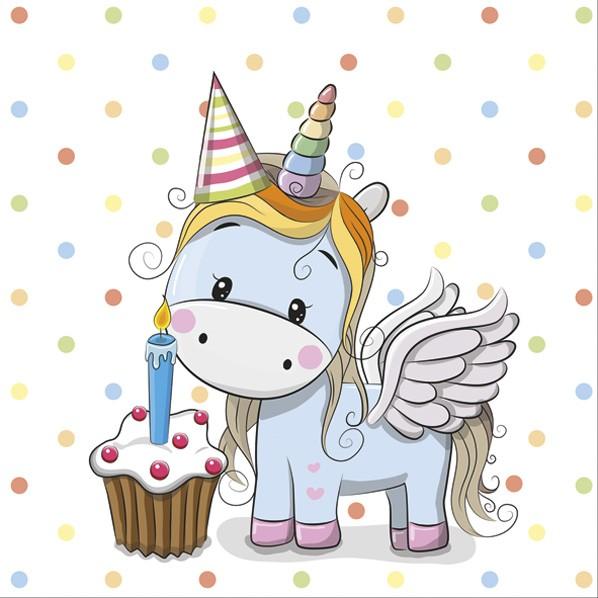20 Servietten Sweet Unicorn with pastel Dots 33x33cm