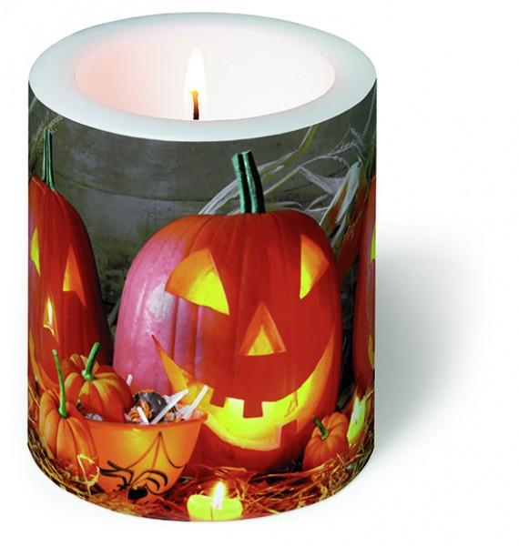 Kerze rund Pumpkin King - Halloween-Kürbis Ø 9cm, Höhe 10cm