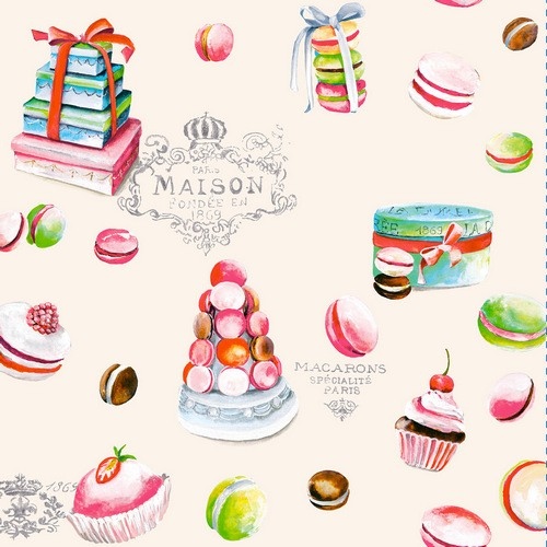 20 Servietten Macarons beige - Leckereien in allen Formen beige 33x33cm