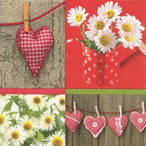 20 Servietten Hearts and Daisies - Herzen & Gänseblümchen 33x33cm