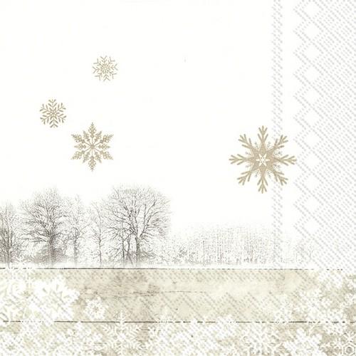 20 Servietten Silent Winter Day linen – Ein Tag im Winter linen 33x33cm