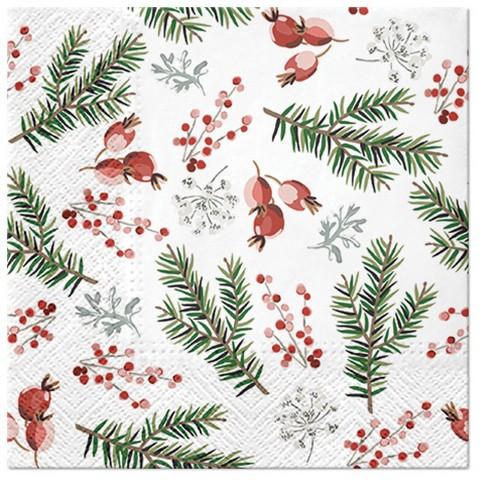 20 Servietten Christmas Berries – Beeren und Zweige im Winter 33x33cm