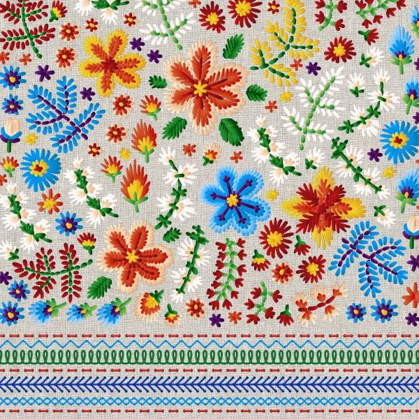 20 Cocktailservietten Embroidery – Geflickter Blumensalat 24x24cm