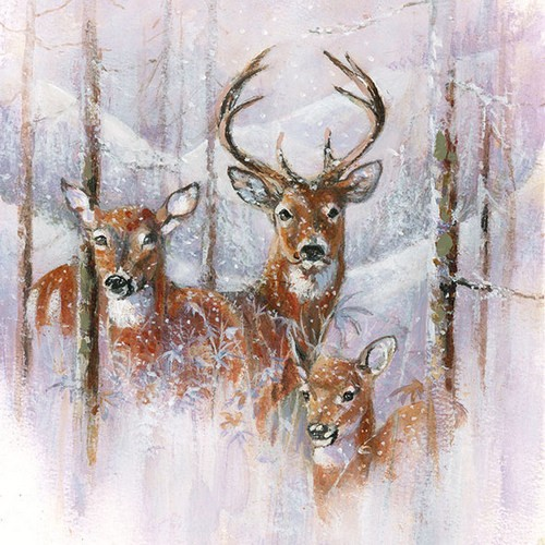 20 Servietten Wilderness Stag - Verschneite Hirschfamilie 33x33cm