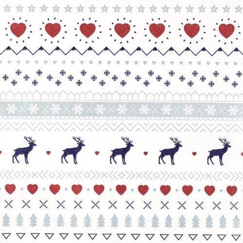 20 Servietten Winter Pattern white 33x33cm
