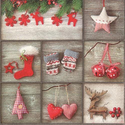 20 Servietten Cottage Winter Patchwork - Weihnachtliche Zusammenstellung 33x33cm