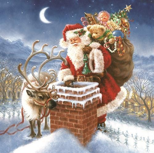 20 Servietten Santa Claus & Chimney 33x33cm