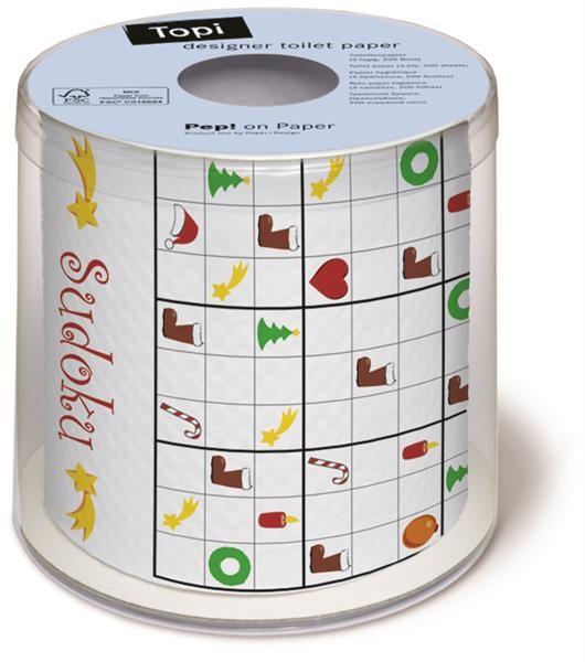Toilettenpapier Rolle bedruckt Weihnachtliches Sudoku