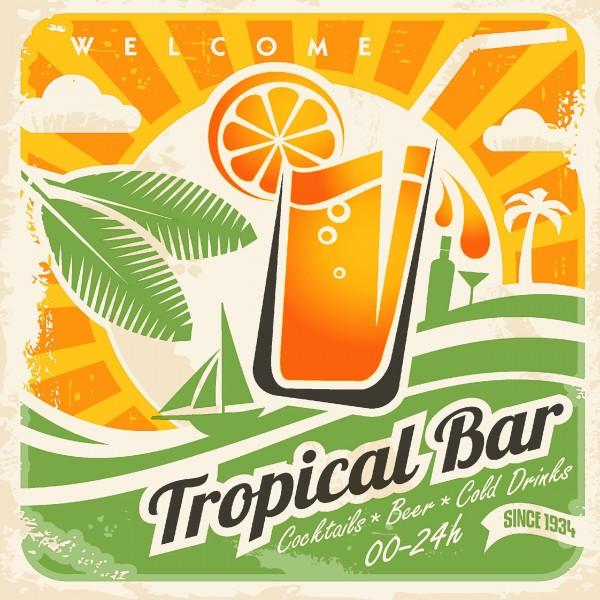 20 Cocktailservietten Tropical Bar – Getränkebar 24x24cm
