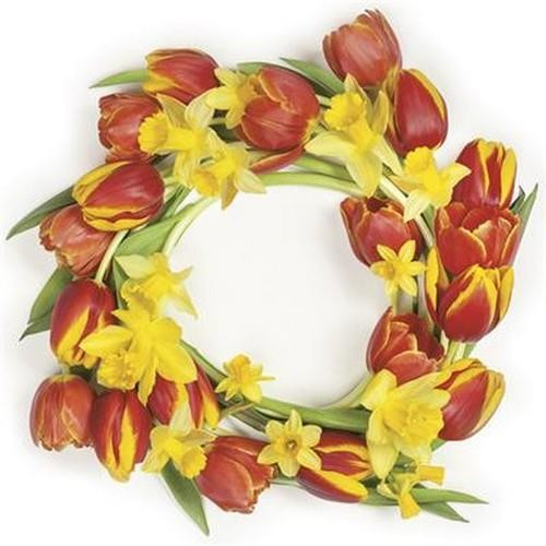 20 Servietten Red Tulips Wreath 33x33cm