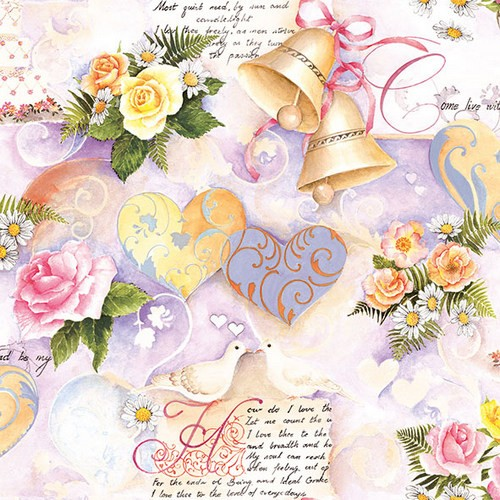 20 Servietten Wedding Bells rose - Hochzeitsstimmung rose 33x33cm