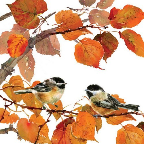 20 Servietten Autumn Birds 33x33cm