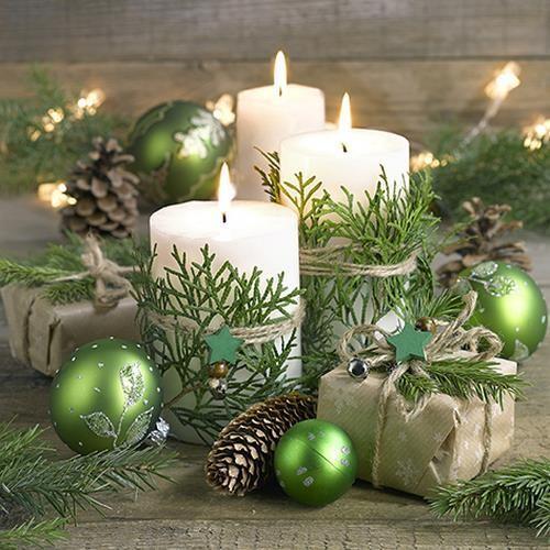 20 Servietten Snuggery - Kerzen und Weihnachtsdekoration 33x33cm