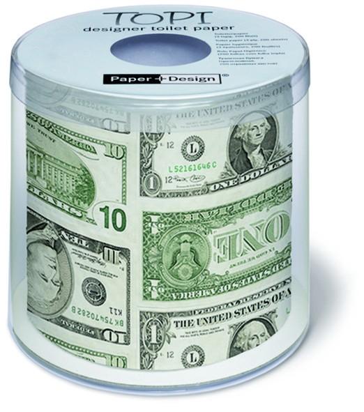 Toilettenpapier Rolle bedruckt Dollar