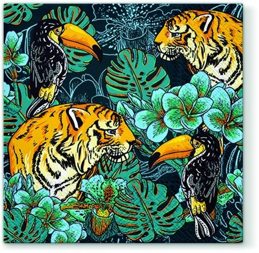 20 Servietten Wild Nature - Tiger und Tukan 33x33cm