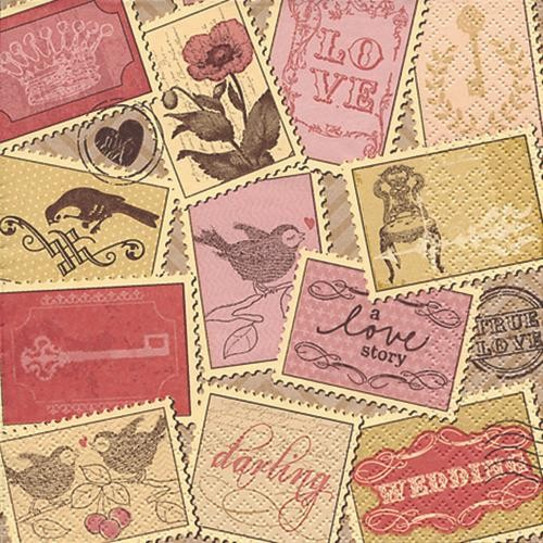 RP 20 Servietten Romantic Stamps - Briefmarkensammlung 33x33cm