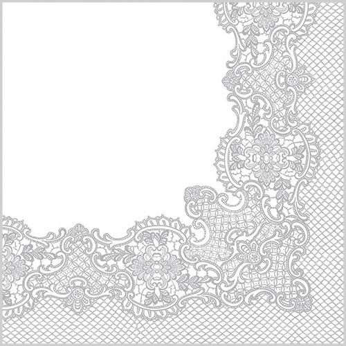 20 Servietten Royal Lace silver - Barock Muster silber 33x33cm