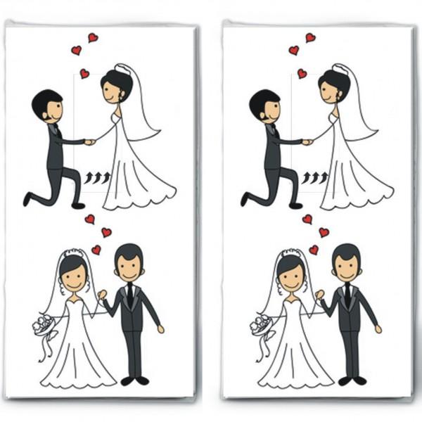 2x 10 Taschentucher Married Couple Verliebtes Hochzeitspaar