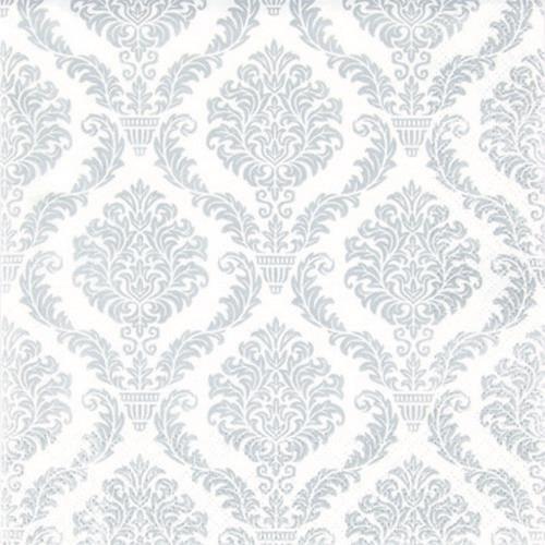20 Cocktail Servietten Elegant silver - Muster silber 25x25cm