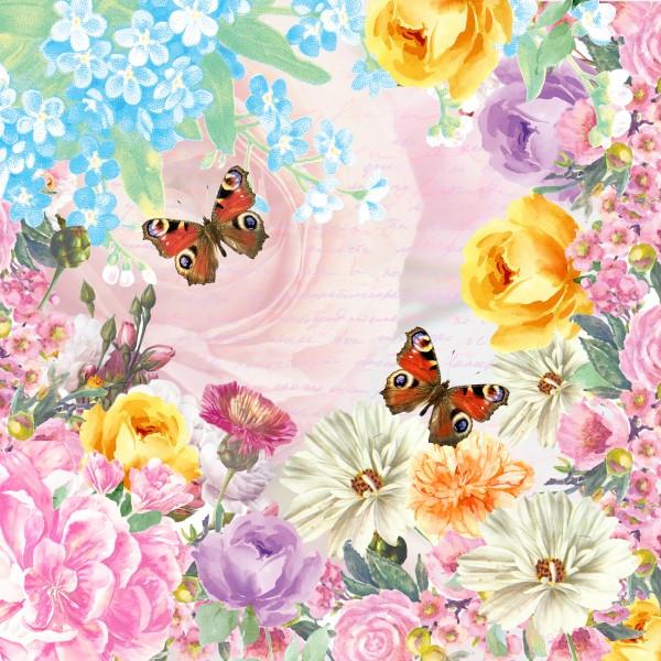 20 Cocktailservietten Butterfly Charm – Magische Frühlingswelt 24x24cm