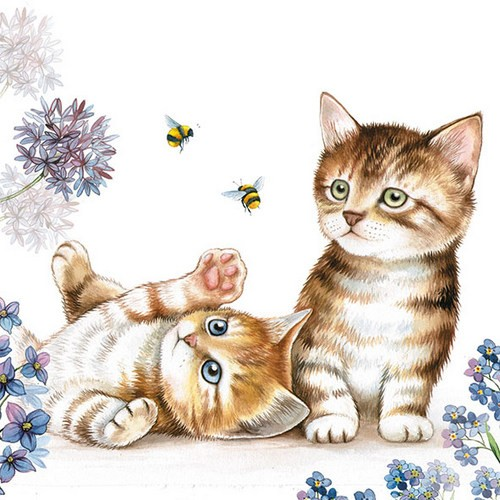 Ambiente Servietten Cats and Bees 33x33cm