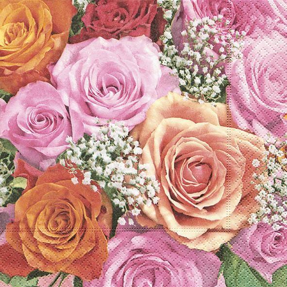 RP 20 Servietten Bridal Rose - Farbige Rosenwelt 33x33cm