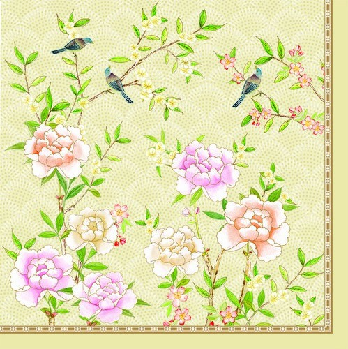 20 Servietten Palace Garden fresco - Vögel im Blumengarten creme 33x33cm