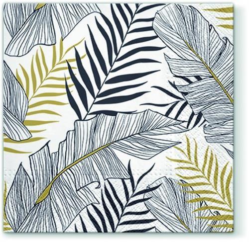20 Servietten Exotic Leaves - Moderne Tropenblätter 33x33cm