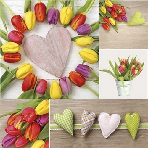 20 Servietten Colourful Tulips Collage with Hearts 33x33cm