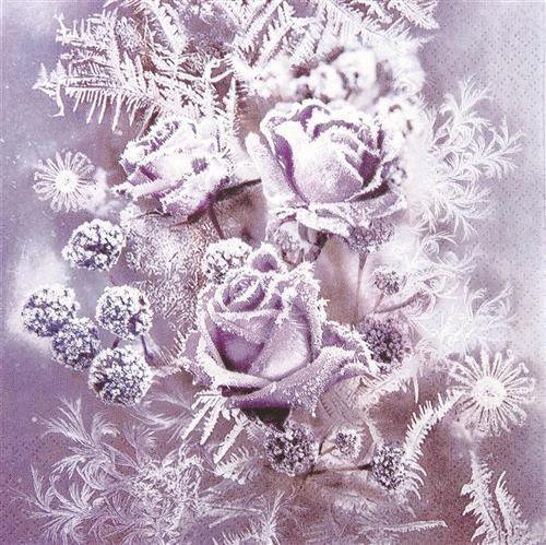 20 Servietten Frosted Roses - Gefrorene Rosen lila 33x33cm