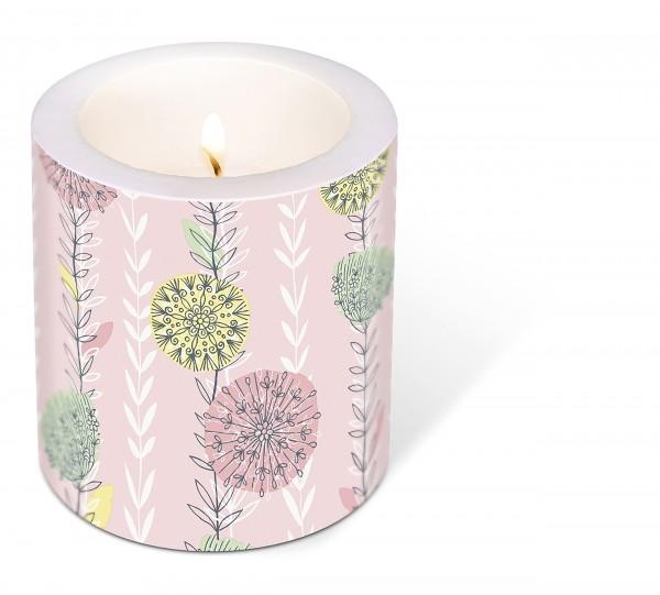 Kerze rund Dream Off – Einfacher Blütentraum Ø9cm, Höhe 10cm
