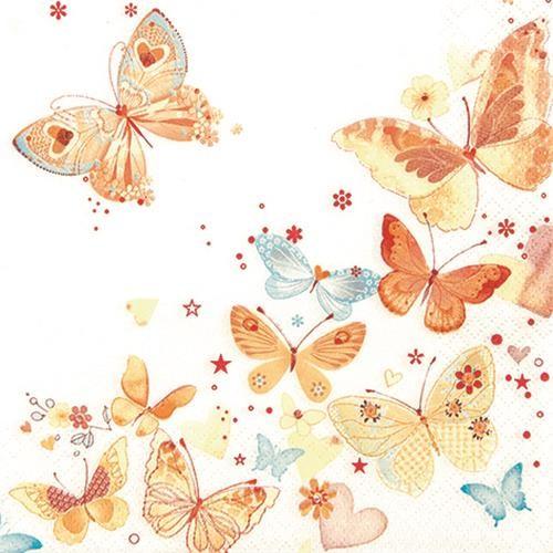 20 Servietten Lovely Butterflies yellow/orange - Reizende Schmetterlinge gelb/orange 33x33cm