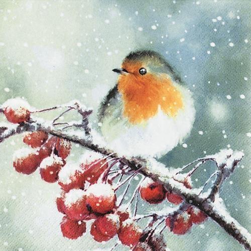 20 Servietten Hello Robin - Winterszene mit Vogel 33x33cm