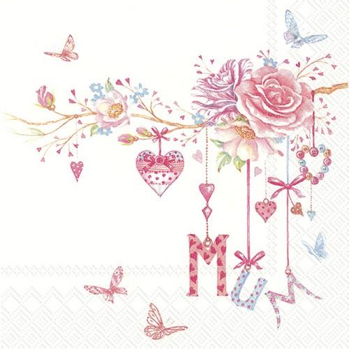 20 Servietten Mum - Ast voller Blumen, Herzen und Buchstaben 33x33cm
