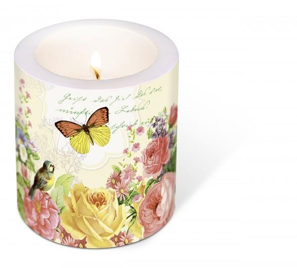 Kerze rund Portrait of Butterfly – Nostalgische Poesie Ø9cm, Höhe 10cm