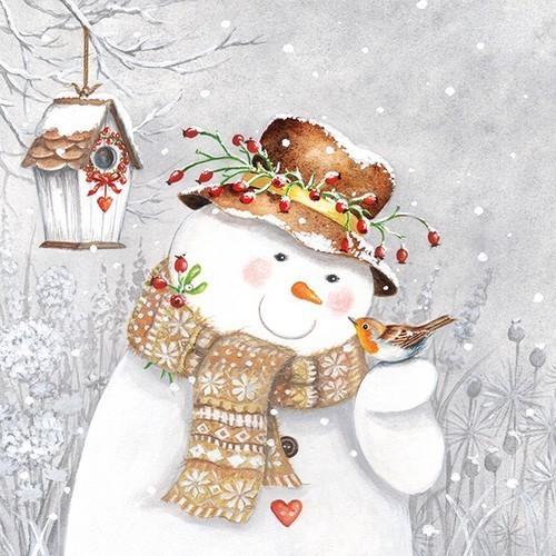 20 Servietten Snowman holding Robin – Schneemann hilft Vogel 33x33cm