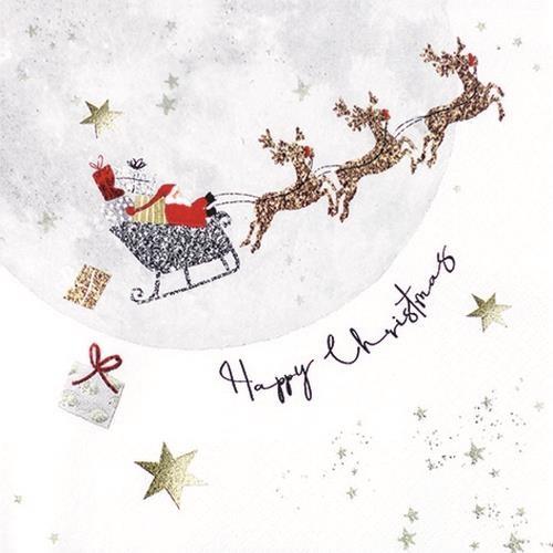 20 Servietten Santa`s Ride - Santa fliegt mit dem Schlitten 33x33cm