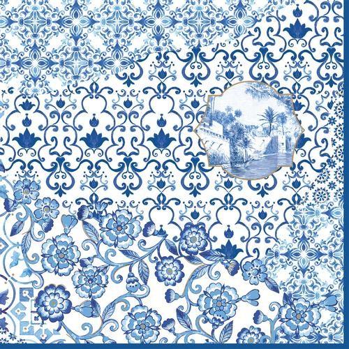20 Servietten Indigo - Porzellanmuster blau 33x33cm